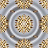 Classic Vintage Background. Golden Pattern On Brown And Gray Colors With Golden Elements. Seamless C poster