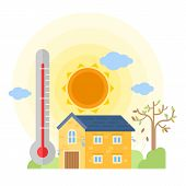 Thermometer Indicating Hot Weather And Summer House Vector Design poster