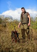 Prepare For Hunting. What You Should Have While Hunting Nature Environment. Man With Rifle Hunting E poster
