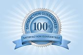 Vector Satisfaction Guaranteed Sign on Blue Background
