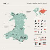 Vector Map Of Wales.  High Detailed Country Map With Division, Cities And Capital Cardiff. Political poster