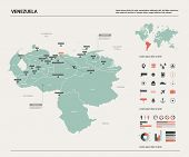 Vector Map Of Venezuela.  High Detailed Country Map With Division, Cities And Capital Caracas. Polit poster