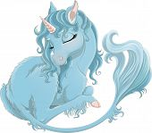 Illustration Of Cute Blue Baby Unicorn With Long Tail And Pink Horn. Sleeping White True Unicron Iso poster
