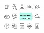 Cryptocurrency Icons. Line Icons Collection On White Background. Bitcoin Website, Password, E-wallet poster