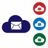 Blue Cloud Mail Server Icon Isolated On White Background. Cloud Server Hosting For Email. Online Mes poster