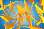 Many twisting orange arrows on a blue background