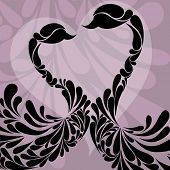 Vector illustration of two swans in black color made with floral design on purple color decorated background for Valentines Day and other occasions.