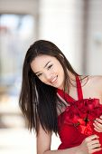 picture of matron  - Beautiful Sexy Asian Woman in red dress for Valentines Day - JPG
