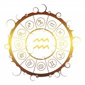 Astrological Symbols In The Circle. Golden Metallic Gradient. Water Bearer Sign poster