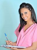 Attractive friendly health admin woman