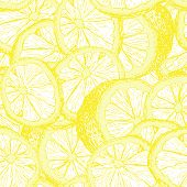 Lemons Hand Drawn Seamless Pattern. Yellow Citrus Color Outline Drawing. Fresh Lemon Slices And Cuts poster