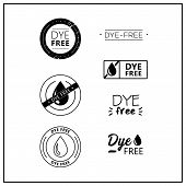 Vector Logos For Products. Icons Dye Free For Product Packaging. Dye-free Drawn Isolated Sign Icon S poster