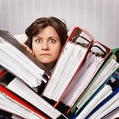 stock photo of swamps  - Accountant swamped the financial statements for the year - JPG