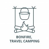 Bonfire, Travel Camping Line Icon, Vector. Bonfire, Travel Camping Outline Sign, Concept Symbol, Fla poster