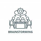 Brainstorming Line Icon, Vector. Brainstorming Outline Sign, Concept Symbol, Flat Illustration poster