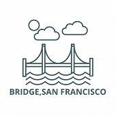 Bridge, San Francisco Line Icon, Vector. Bridge, San Francisco Outline Sign, Concept Symbol, Flat Il poster