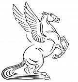 Pegasus Mythological Winged Horse . Outline Tattoo Style Vector Illustration poster