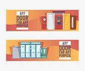 Front Doors To Houses And Buildings Set Of Banners In Flat Design Vector Illustration. Interior Wood poster