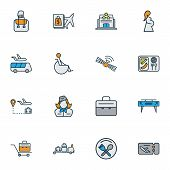 Airport Icons Colored Line Set With Disabled, Restaurant Sign, Airport Shuttle And Other Handbag Ele poster