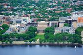 Boston Massachusetts Institute of Technology campus with trees and lawn aerial view with Charles Riv