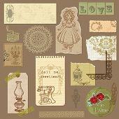 Set de papel con productos Vintage - para su diseño y scrapbook en vector