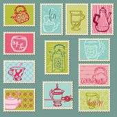 Funny Teapots and Cups Postage Stamps - for design, invitation, congratulation, scrapbook