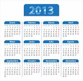 Blue Glossy Calendar For 2013 Year In Spanish
