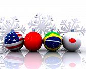 Christmas balls with flag - 3D