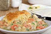 stock photo of biscuits gravy  - Chicken pot pie with carrots and peas - JPG