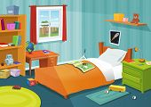 pic of teddy  - Illustration of a cartoon children bedroom with boy or girl lifestyle elements toys bed books desk bookshelf teddy bear - JPG