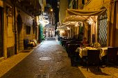 Outdoor Restaurant In The Sidewalk Of Piazza Bra In Verona, Veneto, Italy