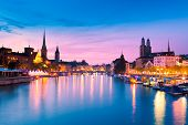 picture of zurich  - The Skyline of Zurich at the Blue Hour - JPG