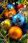 Composition of colored Christmas balls