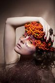 Rowan Berry - Autumn Wreath. Retro Style. Beauty Woman Face