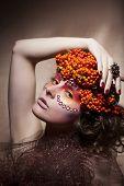 Rowan Berry - Autumn Wreath. Retro Style. Beauty Woman Face