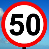 picture of mph  - A view of a 50 mph speed limit sign - JPG