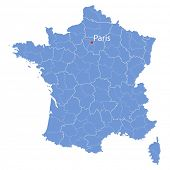 stylized map of France on white background