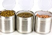 stock photo of hermetic  - Open tin cans of french bean - JPG