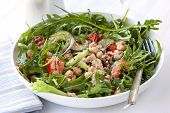Tuna salad with chickpeas, arugula, tomatoes, red onion and capers.  Delicious, low-fat healthy eati