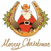 Santa In Cowboy Shoes Sit On Lucky Horseshoe.vector Isolated On White
