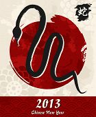 picture of chinese new year 2013  - 2013 Chinese New Year of the Snake brush illustration - JPG