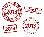 Vector Happy New Year stamp