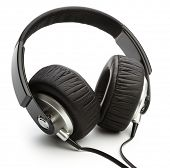 Big black headphones, isolated over white