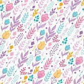 Tulip field flowers seamless pattern background