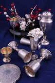 foto of chalice antique  - Various antique silver objects in studio light - JPG