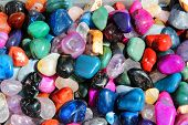 stock photo of heliotrope  - Colorful gemstones on sale at a flea market in Sibiu Romania - JPG