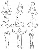 Black and white set of meditation poses. Characters are outline stylized