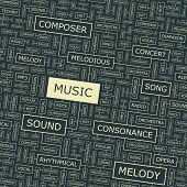 MUSIC. vector pattern. Word collage. Vector illustration.