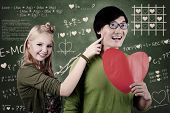 Beautiful Nerd Girl And Guy In Love At School