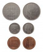 Old Dutch guilder coins depicting Queen Beatrix of the Netherlands. Obverse and reverse isolated on